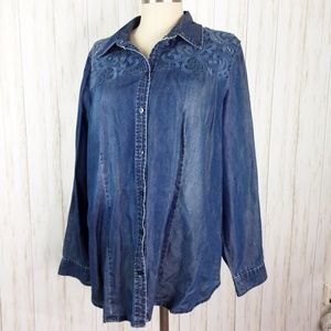 Chico's Denim w/ Lace Long Sleeve Top 2